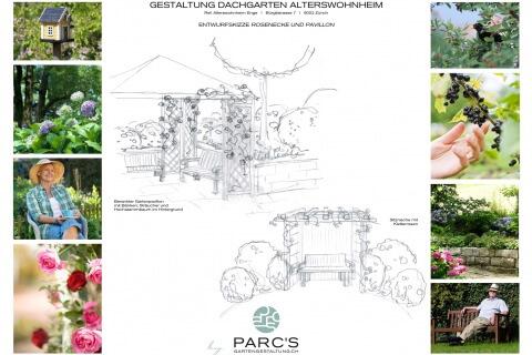 Entwurfskizze Rundweg Dachgarten Alterswohnheim Enge Zürich
