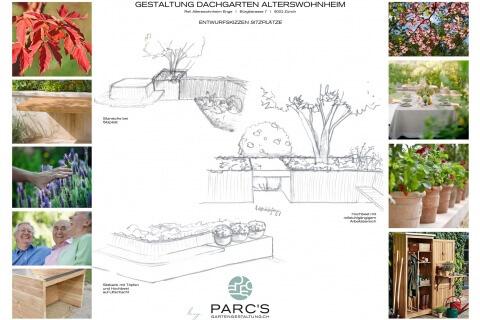 Entwurfsszizze Sitzplatz Gartengestaltung