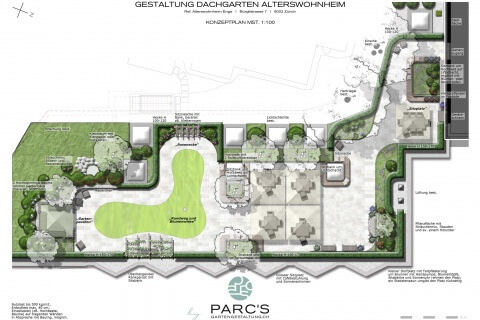 Konzeptplan Dachgarten Alterswohnheim Enge Zürich