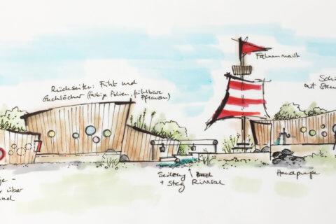 Piratenspielplatz-Kindergarten-Visualisierung