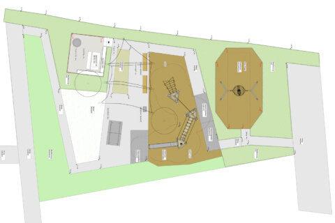 Spielplatz-Meilen-Landschaftsarchitektur-Grundriss